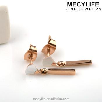 Mecylife New Stylish Drop Earrings Small White Fan Earrings Rose Gold Earrings For Girls Buy Earrings For Girls Gold Earrings Designs For