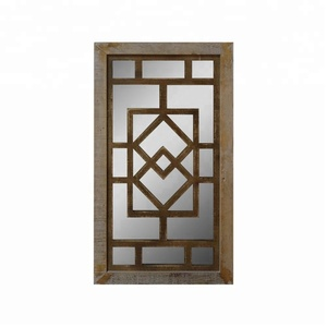Decorative Accent Decor Wooden Window Frame Wall Mirror