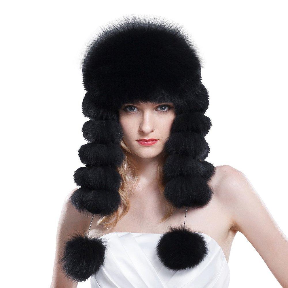 8fc58e5790d Get Quotations · Women s Fox Fur Russian Ushanka Hats with Rabbit Top