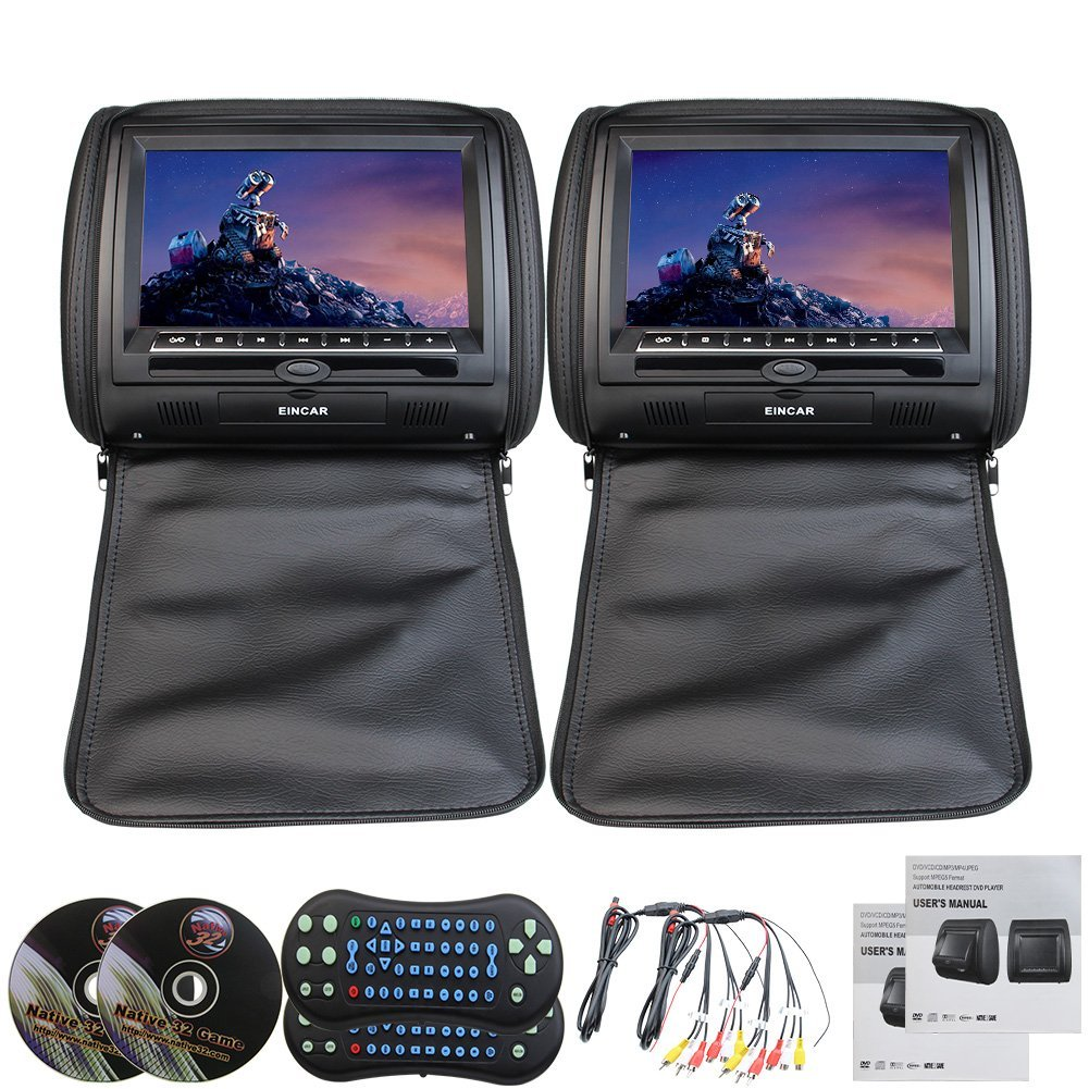 "Eincar Black Color Leather Pair of Car Headrest 9"" Inch Digital Wide Screen Pillow Headrest Monitor Support Remote ControlUSB SD IR FM Transmitter 32 Bit Games"