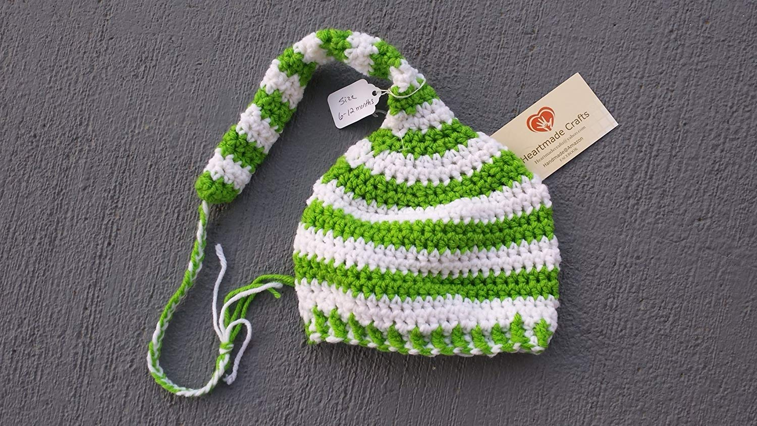 594891946cf Get Quotations · Elf style braided tail stocking hat for baby. SIZE 6 to 12  months. Line