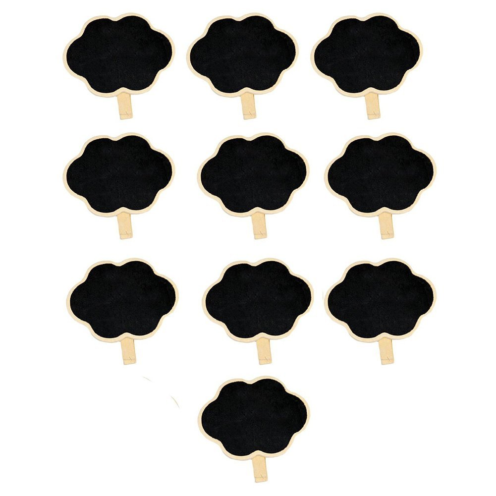 SODIAL(R) Mini Clip On Blackboard Wooden Clip For Wedding Birthday Party Decorations (Clouds) (12)