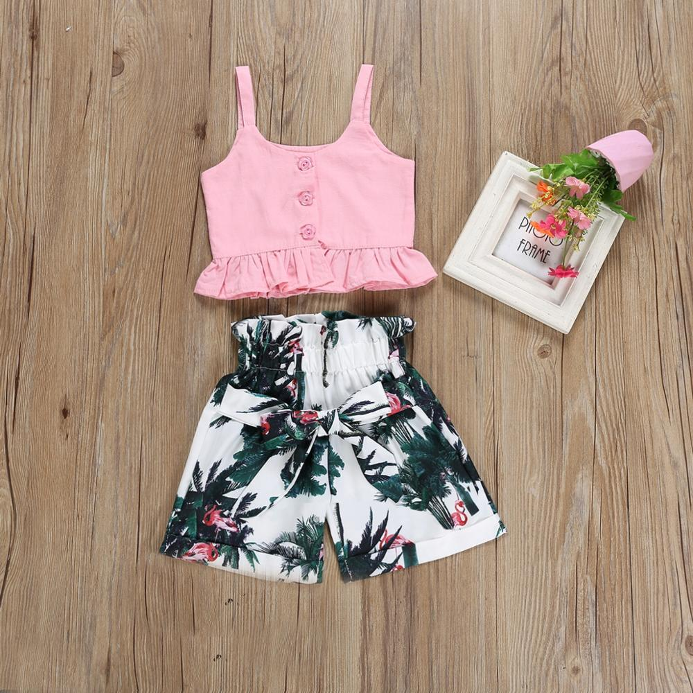 2019 girls clothes suit spring summer new sling pink shirt bird leaf shorts 2 piece set lotus leaf shorts children clothing, As picture