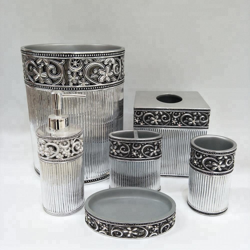 Arabic Silver Bathroom Accessories Set