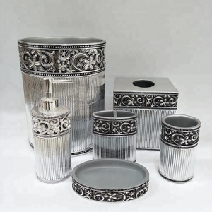 Arabic Silver Bathroom Accessories Set Hotel Decor Sanitary Set
