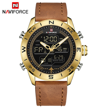 NAVIFORCE Top Brand Sport Men Watch Fashion Casual Leather Quartz Wristwatch Waterproof Watches Men relogio masculino clock