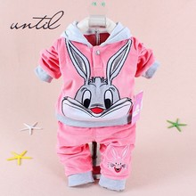 2016 children autumn clothes sets baby boys girls hoodies+ pants clothes fashion long ear rabbit kids wear