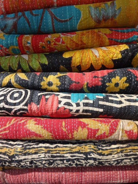 Vintage Kantha Quilt Blanket Throw Made With Vintage Cotton fabric