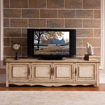 Living Room White Wash Teak Wood Simple Antique Shabby Chic Image ...