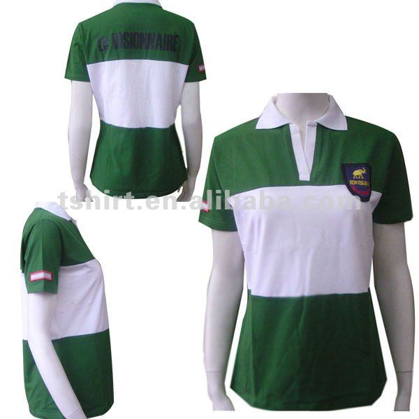 Women's Green And White Striped Polo Shirts - Buy Stripe Polo ...