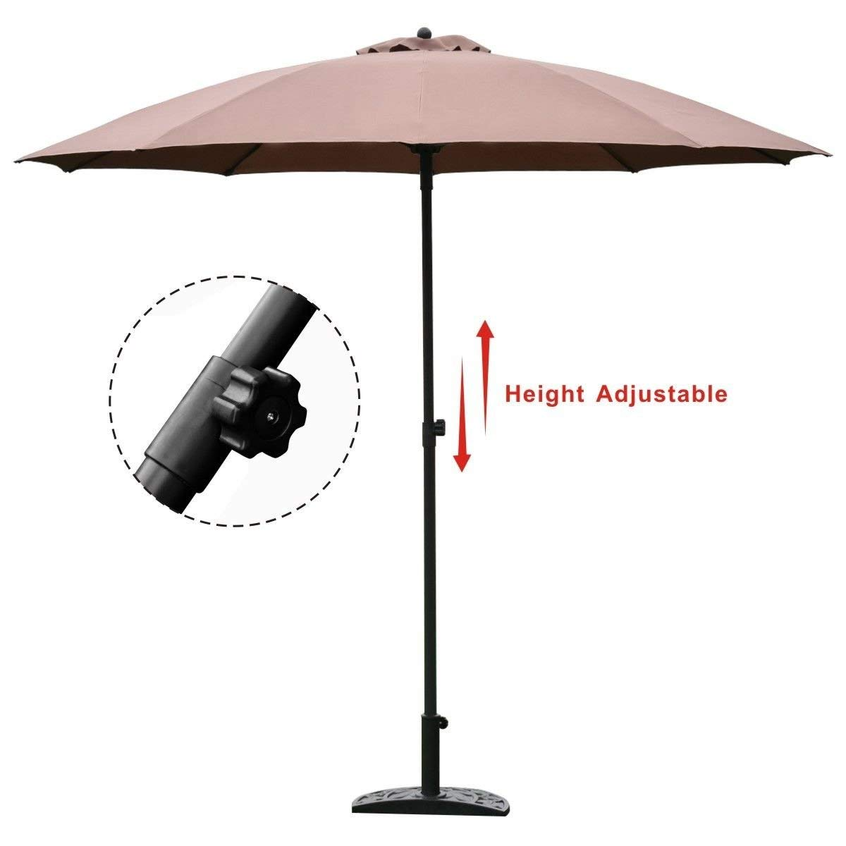 KCHEX>8.2Ft Height Adjustable Outdoor Patio Umbrella Market Sun Shade Beech Yard Tan>Our 8.2ft 10 Rids Height Adjustable Outdoor Patio Umbrella is A Sun Tent, Rain Shelter, and More All in One