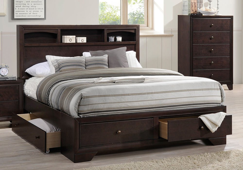 Get Quotations · 1PerfectChoice Master Bedroom Queen Size Bed Storage  Headboard Multi Drawers Under Bed Espresso