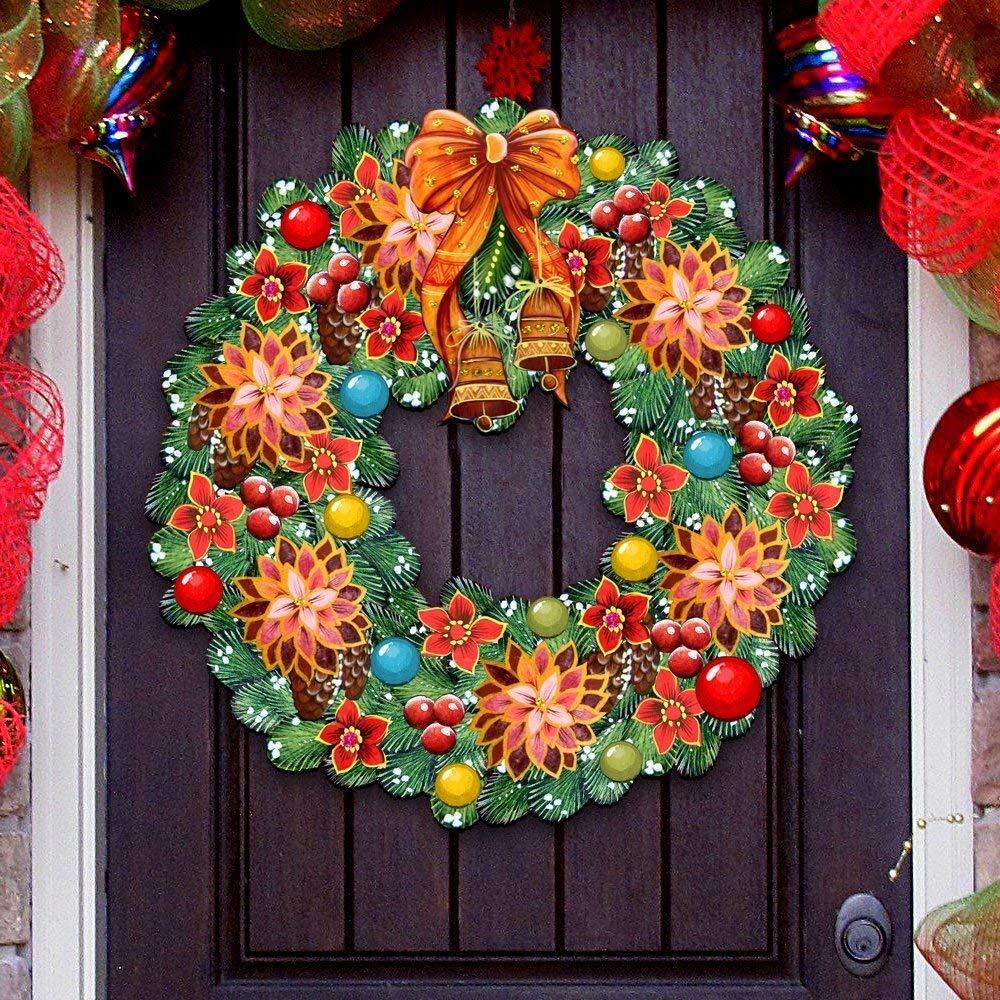 G.DeBrekht Christmas Wreath Wooden Decorative Holiday Door Hanger/Wall Hanger #8185307H