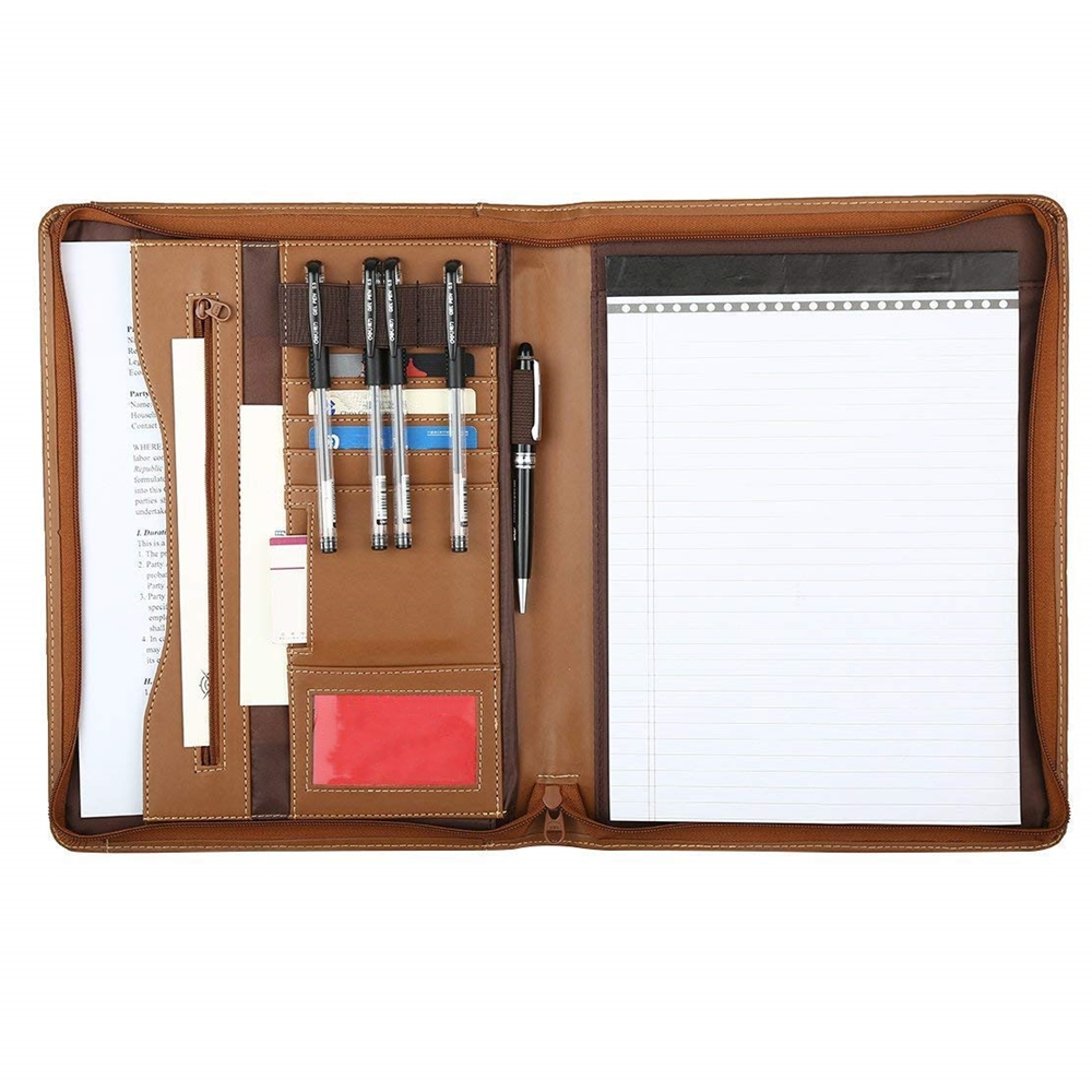 Zipper Closure Custom Portfolio PU Leather Folder Organizer A4