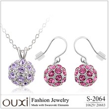 OUXI 2016 wholesale crystal women accessories fashion jewelry set for girls Gift S-2064