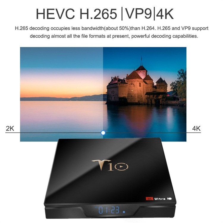 Finamente procesada T10 Amlogic S905W 2.4G-5,8 dual-band Wifi receptor de tv digital 4 k smart android tv caja