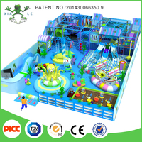 Ocean Theme Children Play House Area Birthday Parties Play Park Indoor Playground with Slide and Ball Pit