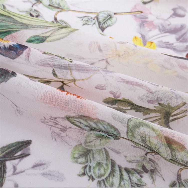 Clair neuf souple poignée brillant fleur imprimé en mousseline de soie tissu de dubai