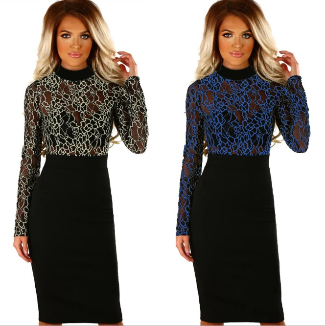 X80284B europe fashion online women elegant dresses ladies casual lace mesh bodycon dress