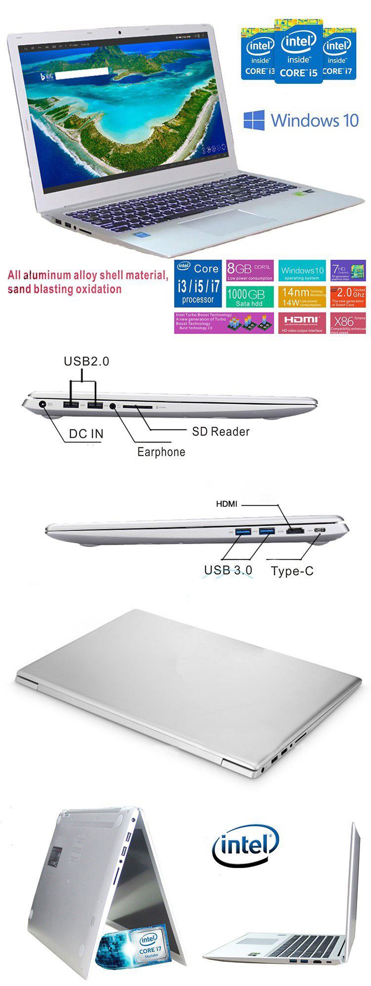 15.6 inch slanke laptop computer Intel Core i7 6500U RAM 8 GB ITB HDD laptop computer met Win 10 OS laptop