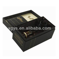 Recyclable Feature Packaging box for paper cardboard with custom Luxury Black Rigid Paperboard Wine Packaging Box