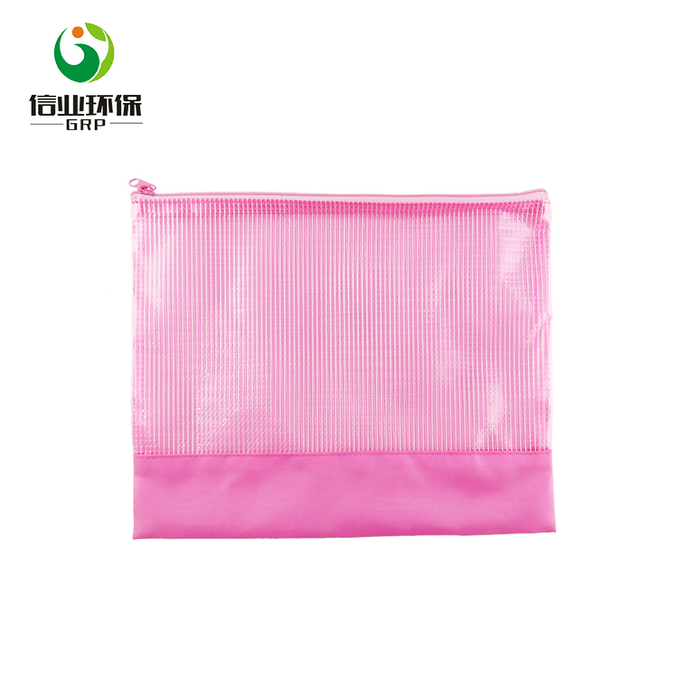 Custom mesh pvc transparant rits uitbreiden document file pocket