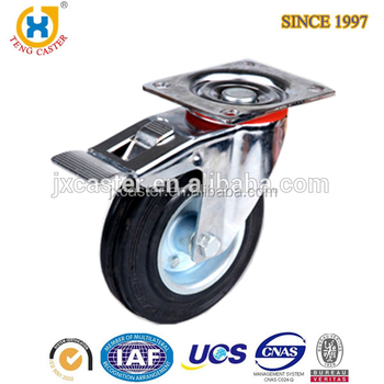 Top-plate Brake Caster Wheel, hard Rubber wheel caster