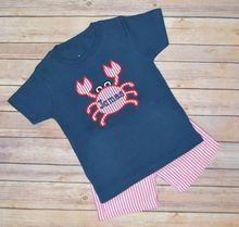OEM animal embroidered navy liile boys T-shirt and pink strip pants clothing set for summer toddler boutique outfits
