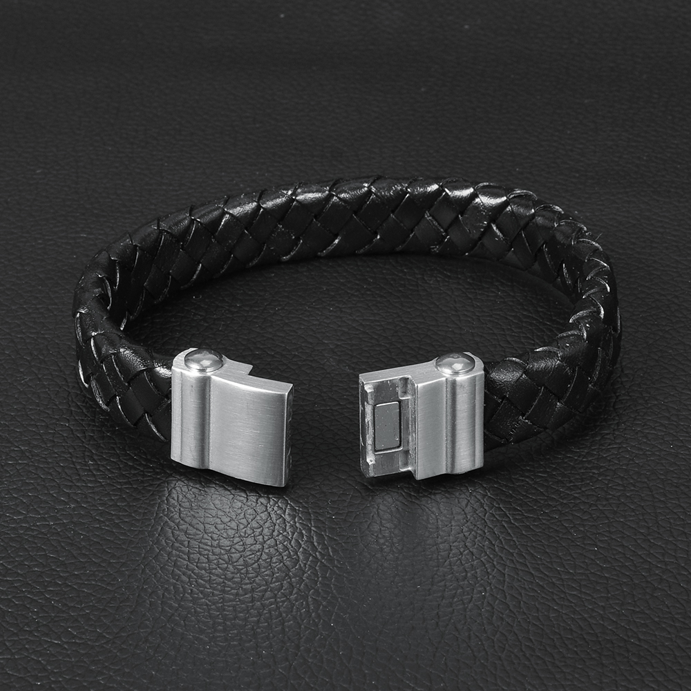 Men's Wristband Woven Braided Leather Bracelet With Locking Stainless Steel Clasp