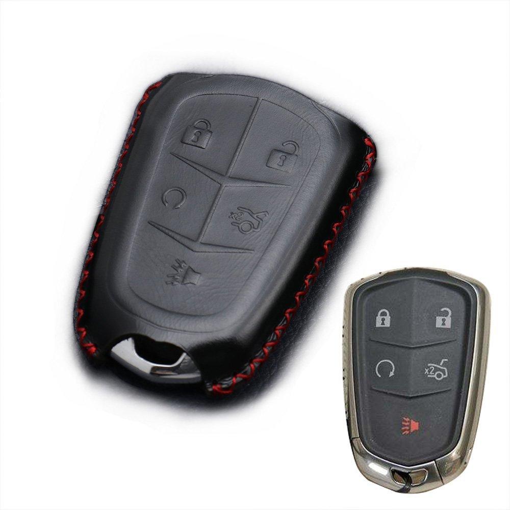 REGEM Cadillac Black Premium Leather Car Key Chain For CADILLAC XT5 ATS CT6 XTS SRX Escalade GTS 5 Button (black)