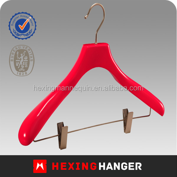Hot Selling Red Finished Wood Pants Clip Hanger