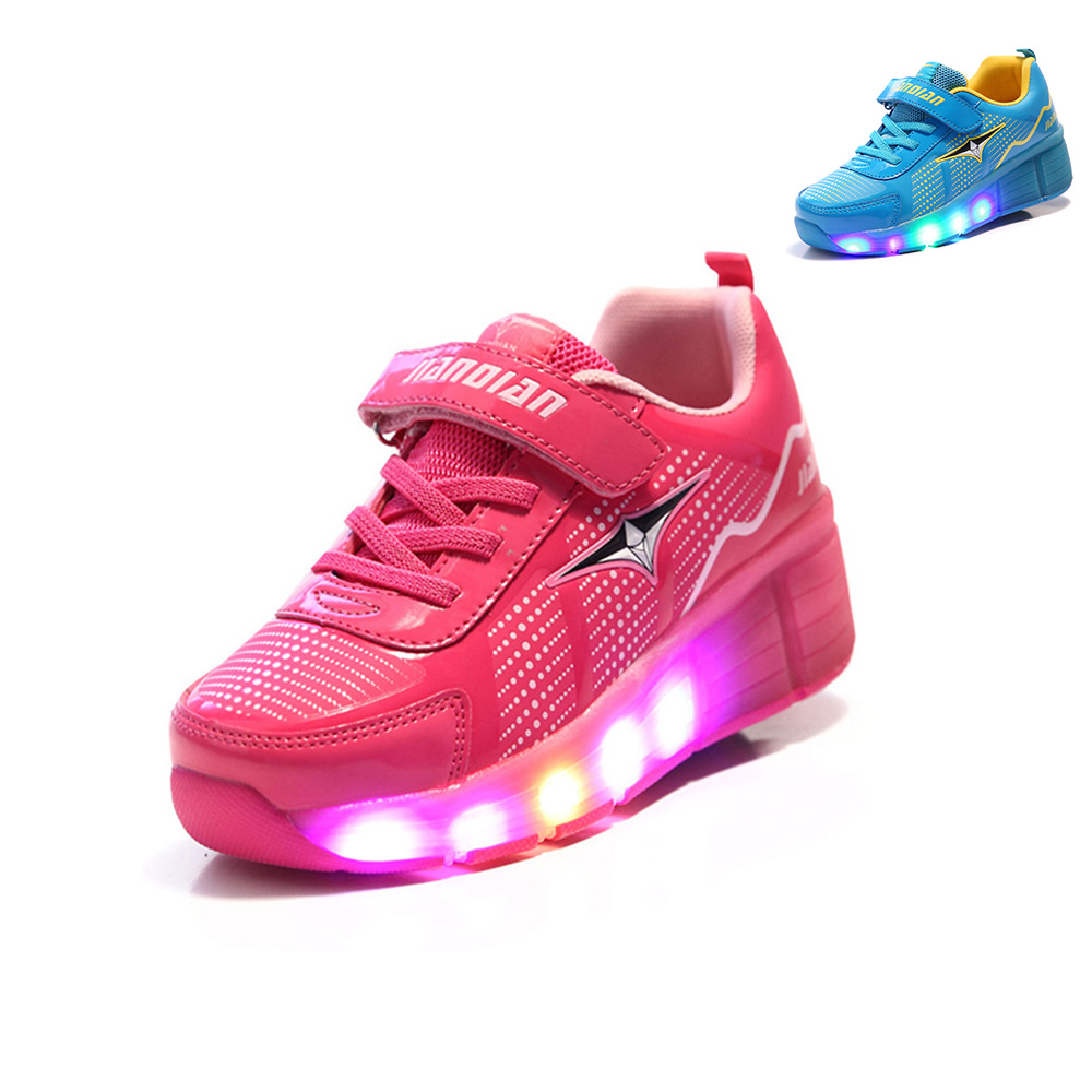 2016 Girls Boy Jazzy LED Light Heelys Junior Child WHeelys Children Roller Skate Shoes Kids Sneakers