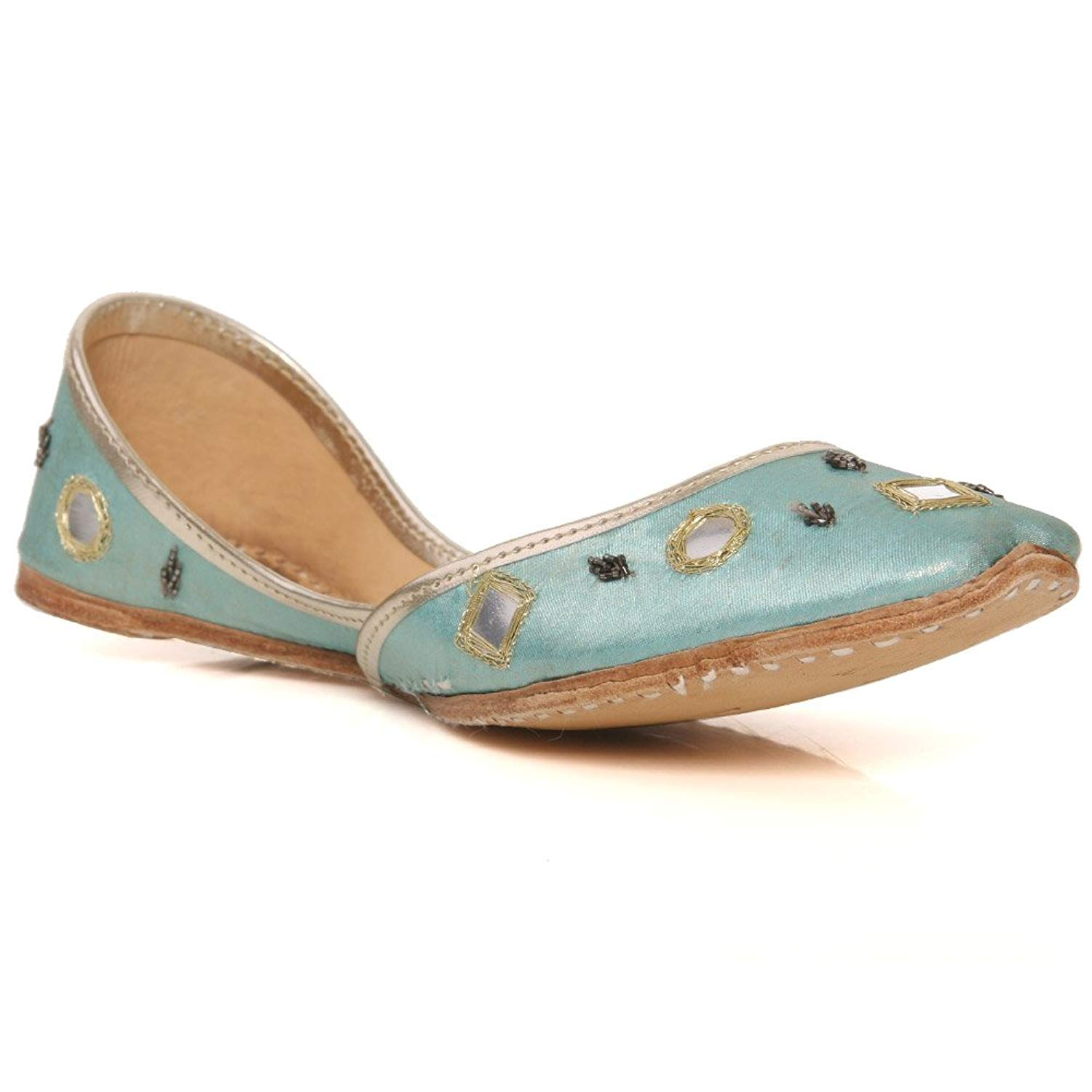 30fcd222cbcefc Get Quotations · Unze New Women Traditional  Cavansite  Handmade Leather  Flat Indian Khussa Pump Slippers Shoes Size