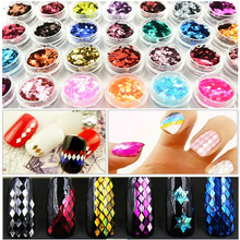 12 colors Flock for nails Diamond nail color laser powder gradient sequin sparkle glitter Powder polish acrylic shine