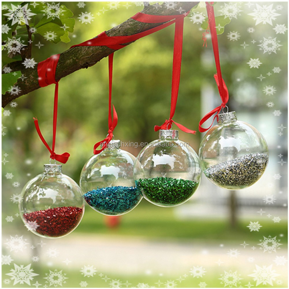 100 wholesale clear red color glass christmas ball for Christmas ornaments sale