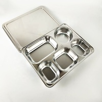 304 Stainless Steel Rectangle Thali Dining Plate Set 5 Compartment lunch box military mess tray