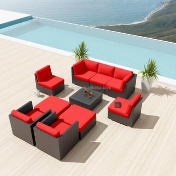 Espresso Color Deep Seating Outdoor Modular Sofa Set Synthetic Rattan Wicker  China Garden Furniture