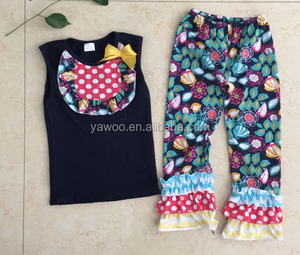 2015Newest Easter Cotton Baby Outfit Summer Girls Floral Ruffle Capris Pant Outfit Toddler Girls Clothing Set 2 Pieces Baby Suit