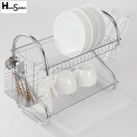 Sliver2 Storage Organizer 2-Tier Stainless Steel, Metal Dish Drying Rack Holder Wire Rack Shelves Kitchen Cup Tray Cutlery Dish