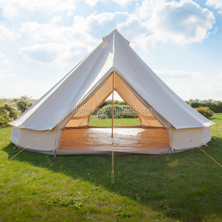 Outdoor luxury safari 5m large space cotton canvas double door bell tent for sale фото