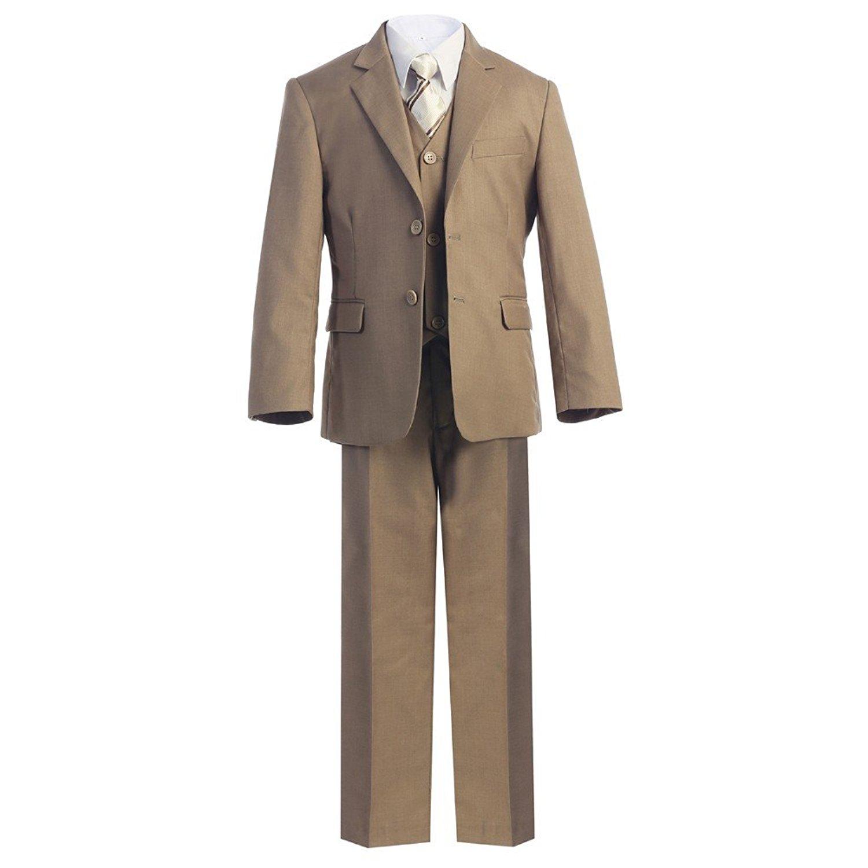 Bone Big Boys Khaki Jacket Shirt Vest Clip On Tie Pants 5 Pc Suit Set 8-18