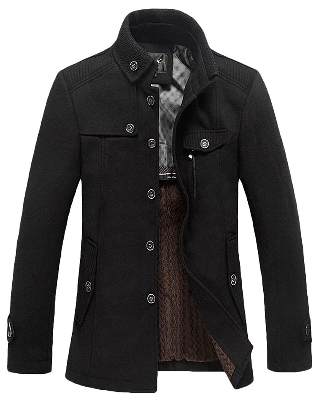 Mens Pea Coat,Gillberry Stand Collar Windproof Jacket Overcoat Cotton Windbreaker Jacket