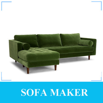 Top Quality Velvet Fabric Corner Sofa With Chaise Lounge Bridget