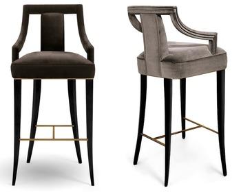 Eanda Bar Chair Velvet Fabric Barstool Restaurant Furniture