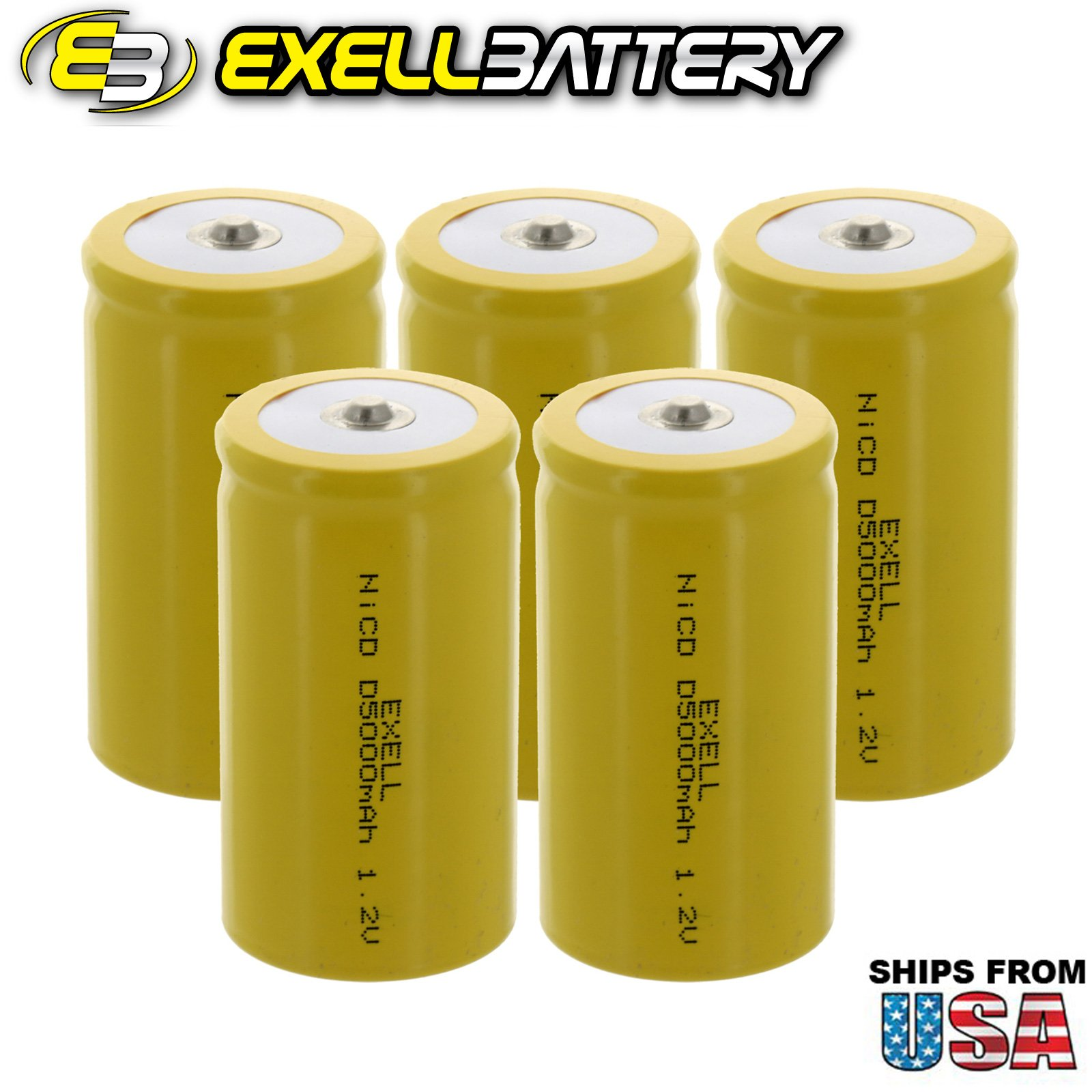 5x Exell D Size 1.2V 5000mAh NiCD Button Top Rechargeable Batteries for medical instruments/equipment, electric razors, toothbrushes, radio controlled devices, electric tools