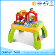Kids multifunctional farm funny building blocks with desk