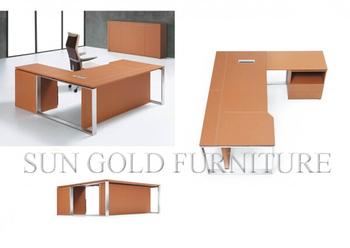 Modern Wooden Office Table Models Orange High End Manager DeskSZ