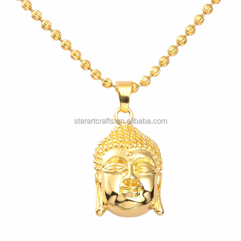 Small quantity wholesale!!! Handmade 18K gold buddha head <strong>pendant</strong> for men