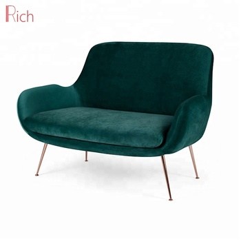 Asian Style Cushion Sofa Cover Fabric Loveseat Blue Velvet Small Sectional  Copper Metal Frame Seating Living Room Sofa Sets - Buy 2 Seater Sofa,Steel  ...