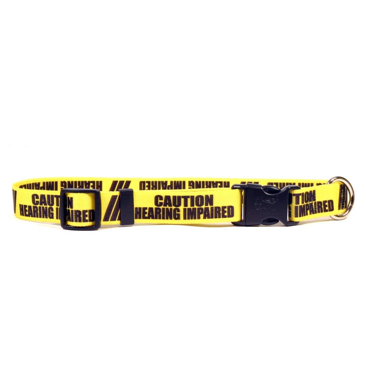 "14/"" - 20/"" Yellow /""CAUTION HEARING IMPAIRED/"" Medium Dog Collar Ships Free"